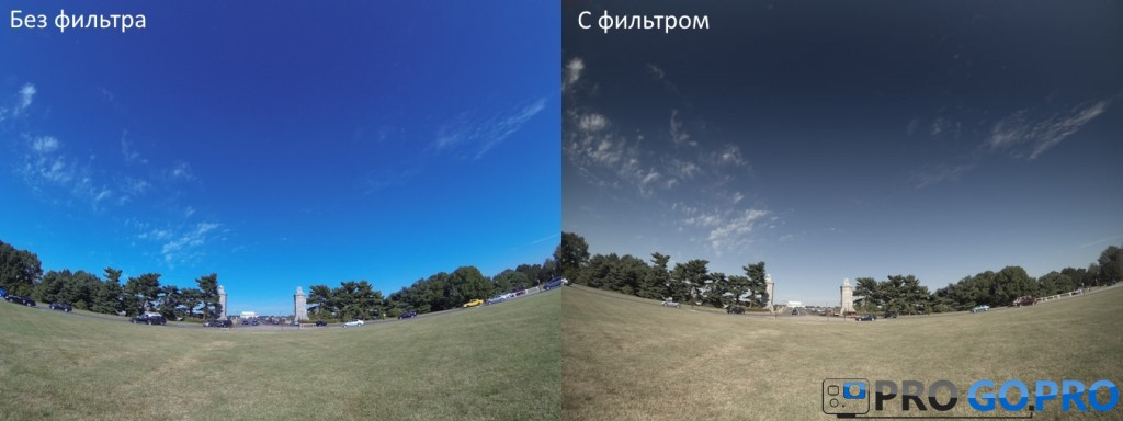 фото с поляризационным фильтром и без фильтра на камеру GoPro Hero 3