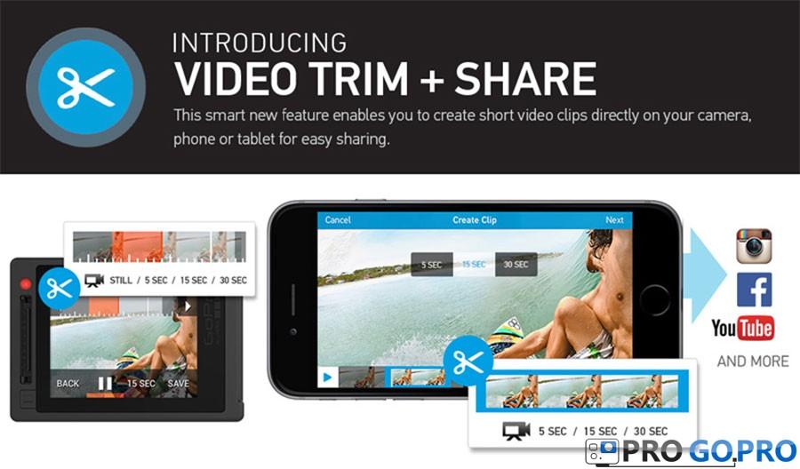 функция trim-share для камер gopro