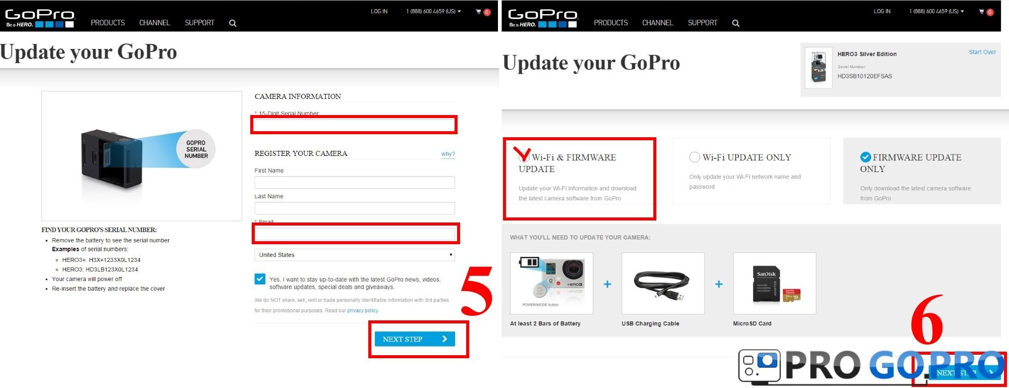 Инструкция как обновить прошивку на камере Gopro. Шаг5 и Шаг6